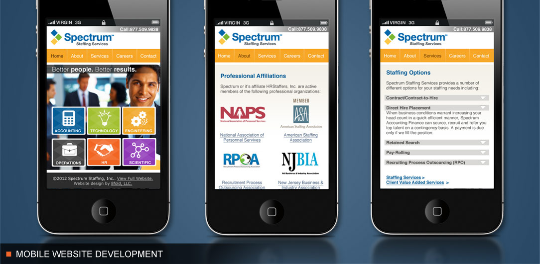 Mobile Website Development for Spectrum Staffing