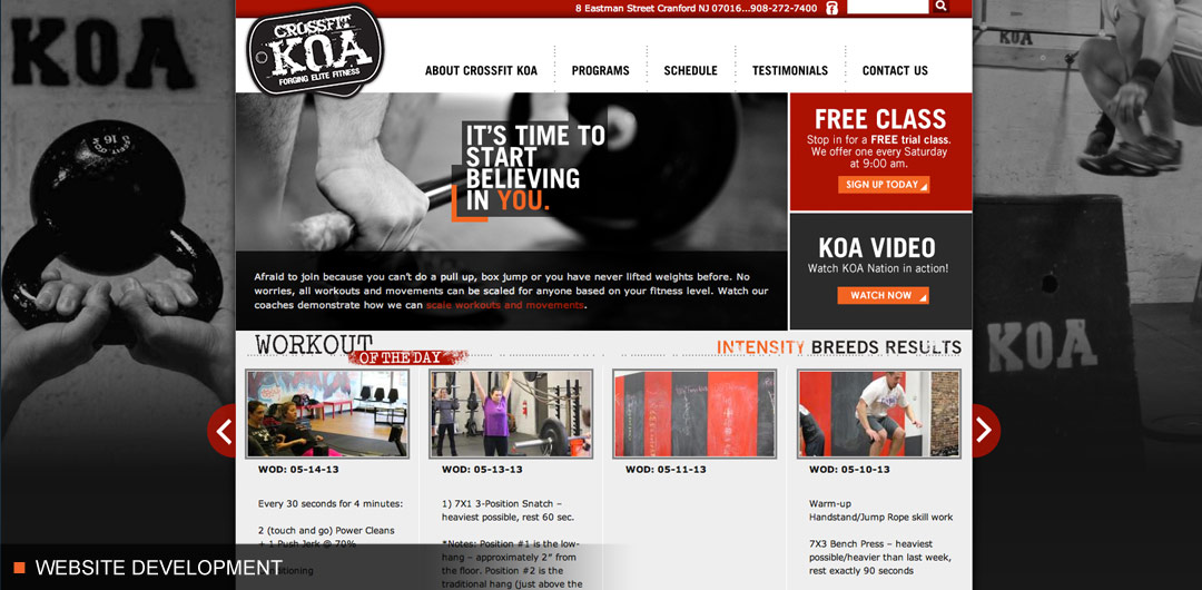 Website development for sports and fitness company