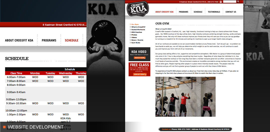 Website development for crossfit sports and fitness company