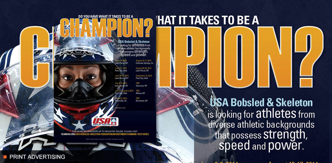 8fold OffTheSled ProBono Print Advertising Design for USA Bobsled & Skeleton